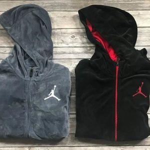Nike Jordan Boys Velour Hoodie Sweatshirt Black
